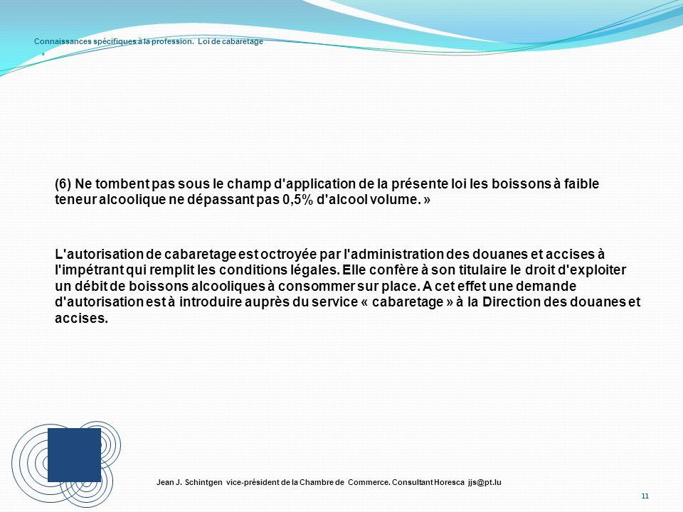 Connaissances spécifiques à la profession. Loi de cabaretage 11 Jean J. Schintgen vice-président de la Chambre de Commerce. Consultant Horesca jjs@pt.