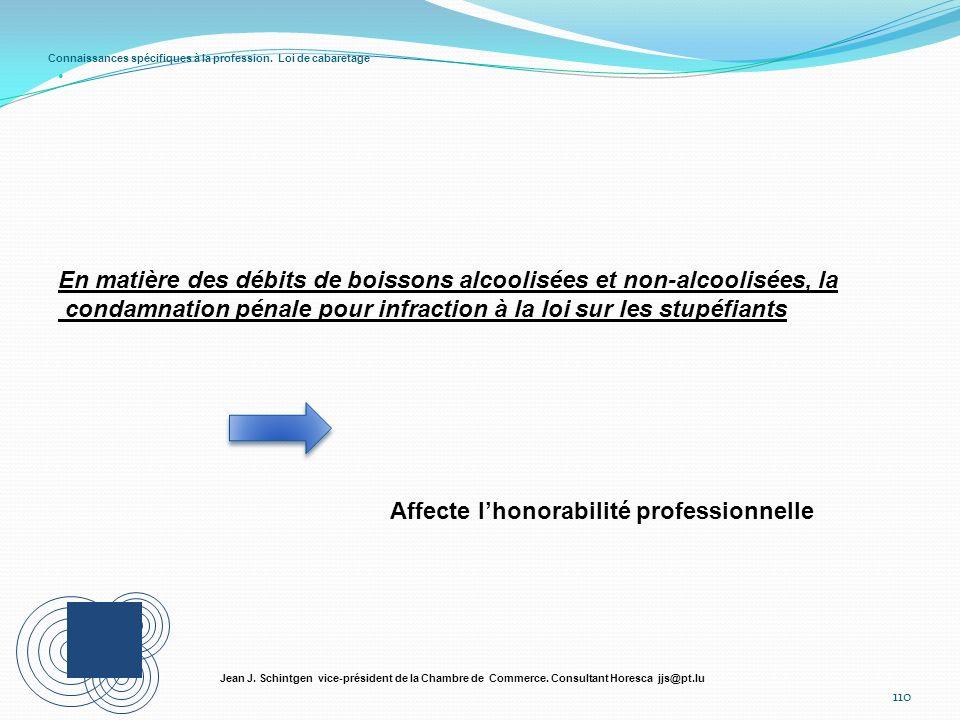 Connaissances spécifiques à la profession. Loi de cabaretage 110 Jean J. Schintgen vice-président de la Chambre de Commerce. Consultant Horesca jjs@pt