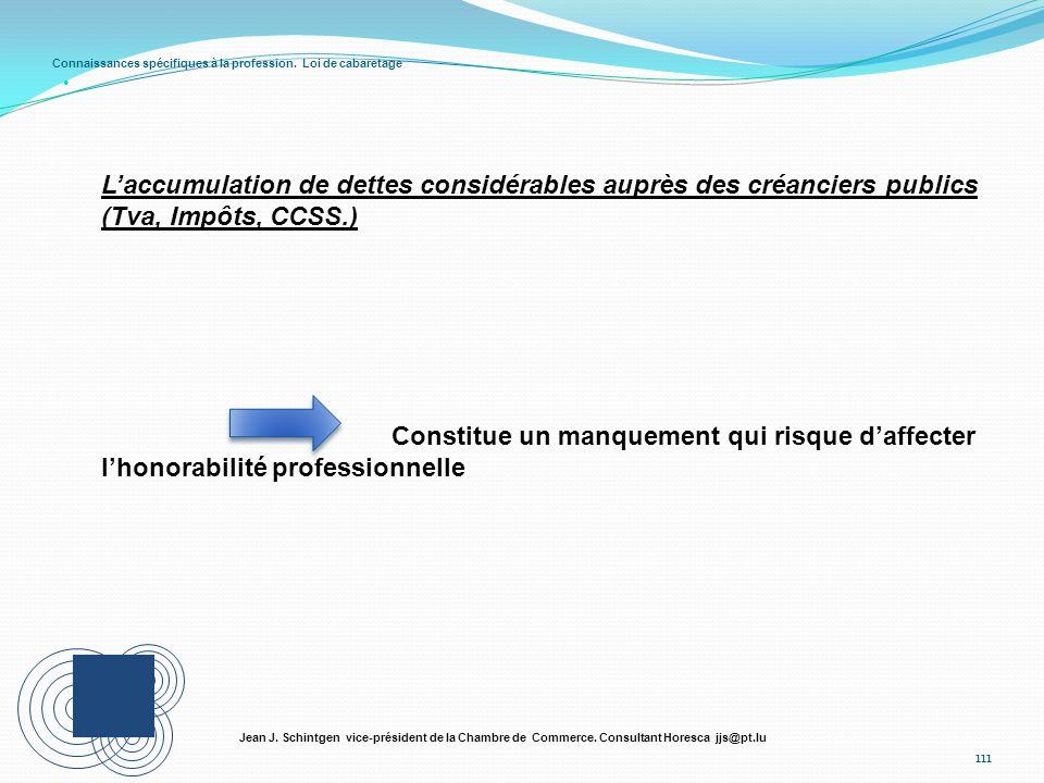 Connaissances spécifiques à la profession. Loi de cabaretage 111 Jean J. Schintgen vice-président de la Chambre de Commerce. Consultant Horesca jjs@pt