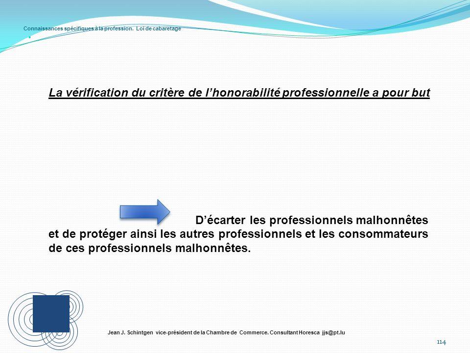Connaissances spécifiques à la profession. Loi de cabaretage 114 Jean J. Schintgen vice-président de la Chambre de Commerce. Consultant Horesca jjs@pt