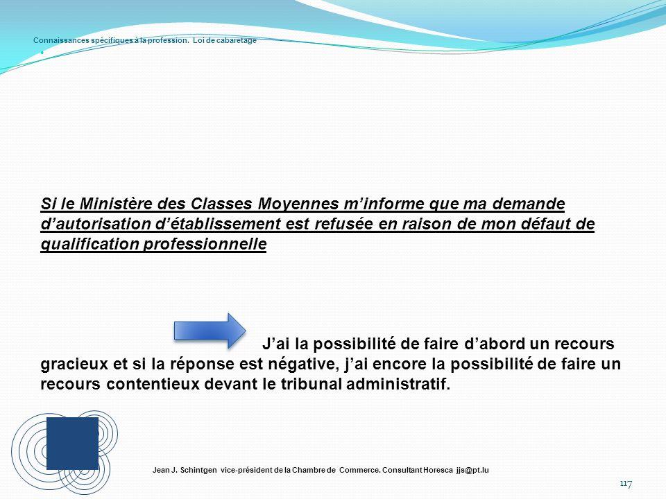 Connaissances spécifiques à la profession. Loi de cabaretage 117 Jean J. Schintgen vice-président de la Chambre de Commerce. Consultant Horesca jjs@pt