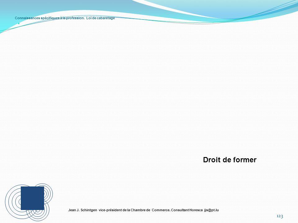 Connaissances spécifiques à la profession. Loi de cabaretage 123 Jean J. Schintgen vice-président de la Chambre de Commerce. Consultant Horesca jjs@pt