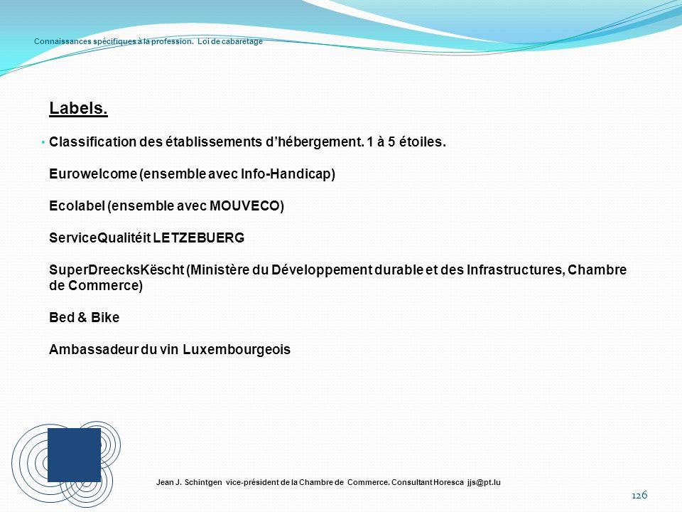 Connaissances spécifiques à la profession. Loi de cabaretage 126 Jean J. Schintgen vice-président de la Chambre de Commerce. Consultant Horesca jjs@pt
