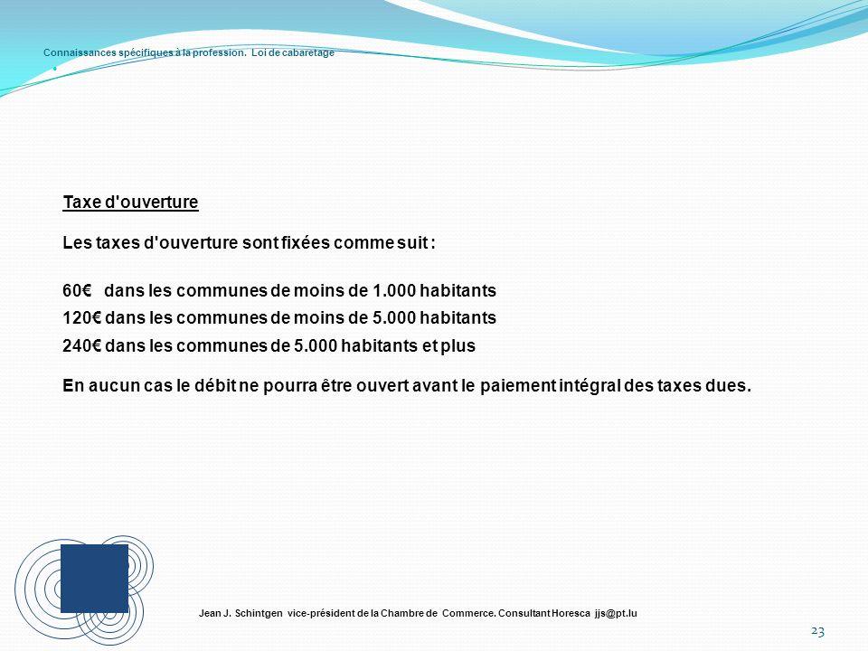 Connaissances spécifiques à la profession. Loi de cabaretage 23 Jean J. Schintgen vice-président de la Chambre de Commerce. Consultant Horesca jjs@pt.