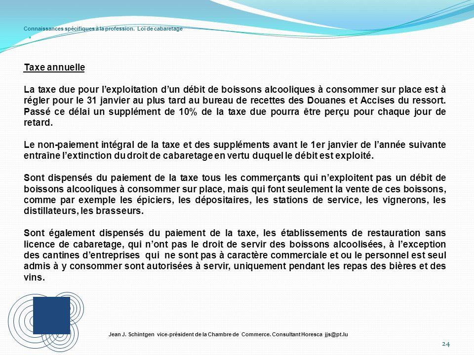Connaissances spécifiques à la profession. Loi de cabaretage 24 Jean J. Schintgen vice-président de la Chambre de Commerce. Consultant Horesca jjs@pt.
