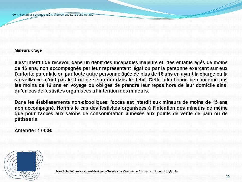 Connaissances spécifiques à la profession. Loi de cabaretage Mineurs dâge 30 Jean J. Schintgen vice-président de la Chambre de Commerce. Consultant Ho