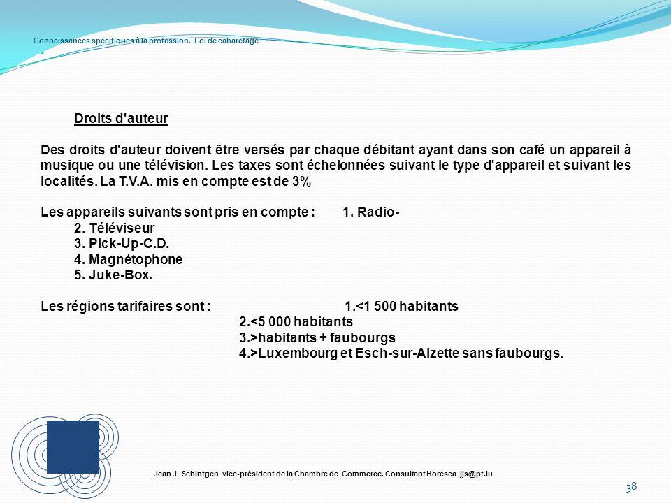 Connaissances spécifiques à la profession. Loi de cabaretage 38 Jean J. Schintgen vice-président de la Chambre de Commerce. Consultant Horesca jjs@pt.