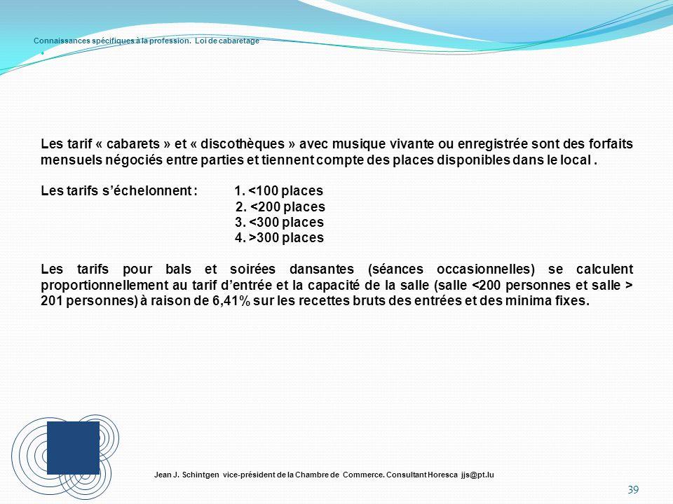 Connaissances spécifiques à la profession. Loi de cabaretage 39 Jean J. Schintgen vice-président de la Chambre de Commerce. Consultant Horesca jjs@pt.