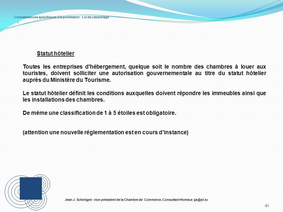 Connaissances spécifiques à la profession. Loi de cabaretage 41 Jean J. Schintgen vice-président de la Chambre de Commerce. Consultant Horesca jjs@pt.