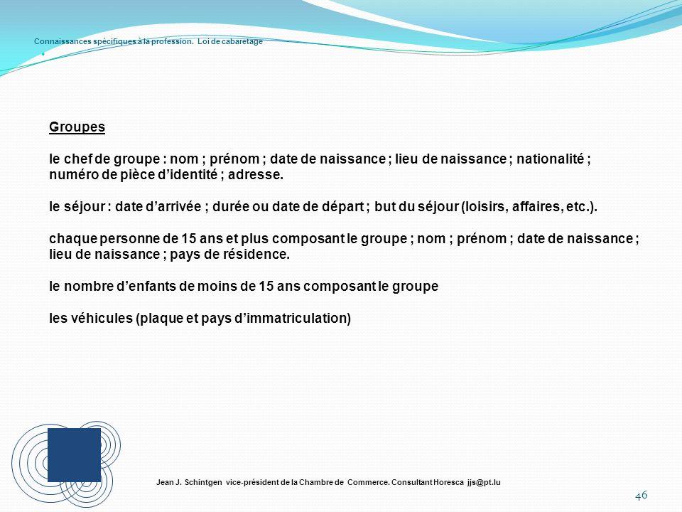 Connaissances spécifiques à la profession. Loi de cabaretage 46 Jean J. Schintgen vice-président de la Chambre de Commerce. Consultant Horesca jjs@pt.