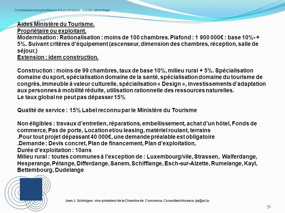 Connaissances spécifiques à la profession. Loi de cabaretage 51 Jean J. Schintgen vice-président de la Chambre de Commerce. Consultant Horesca jjs@pt.
