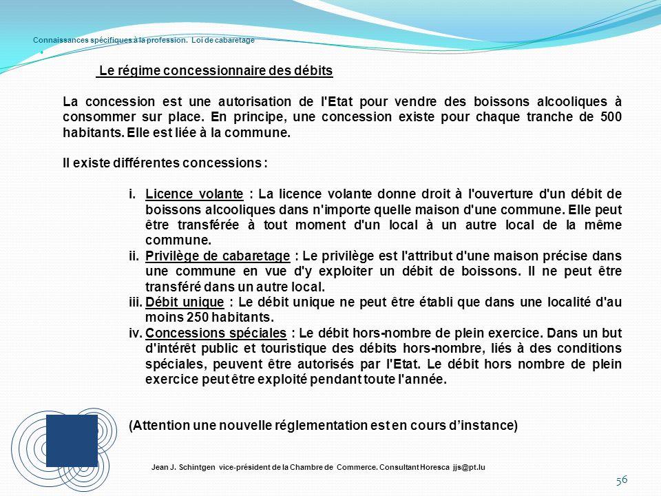 Connaissances spécifiques à la profession. Loi de cabaretage 56 Jean J. Schintgen vice-président de la Chambre de Commerce. Consultant Horesca jjs@pt.