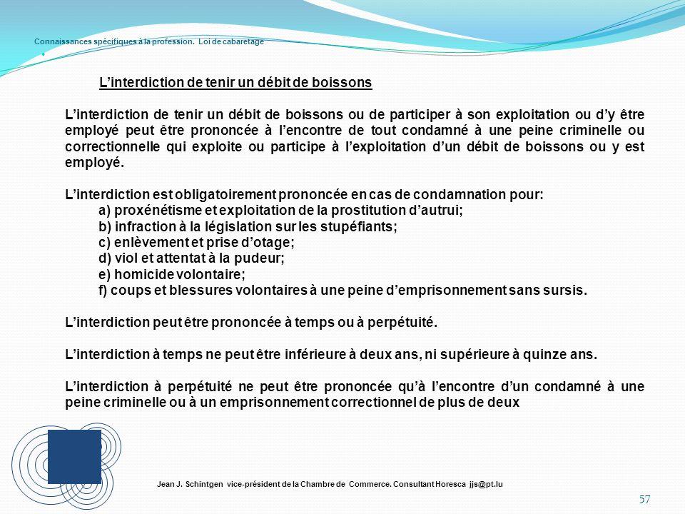 Connaissances spécifiques à la profession. Loi de cabaretage 57 Jean J. Schintgen vice-président de la Chambre de Commerce. Consultant Horesca jjs@pt.