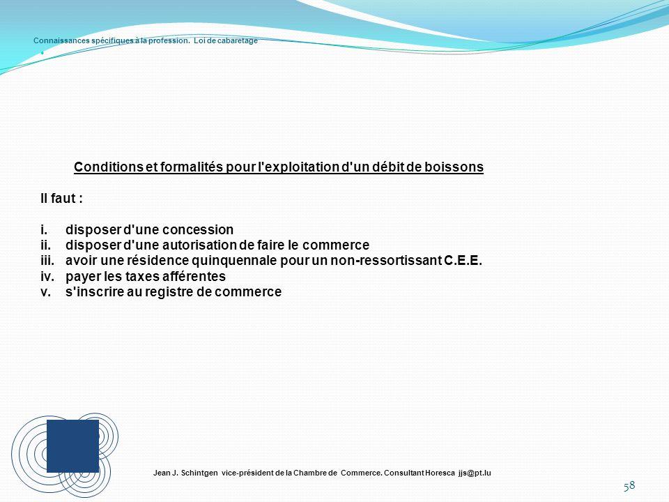 Connaissances spécifiques à la profession. Loi de cabaretage 58 Jean J. Schintgen vice-président de la Chambre de Commerce. Consultant Horesca jjs@pt.