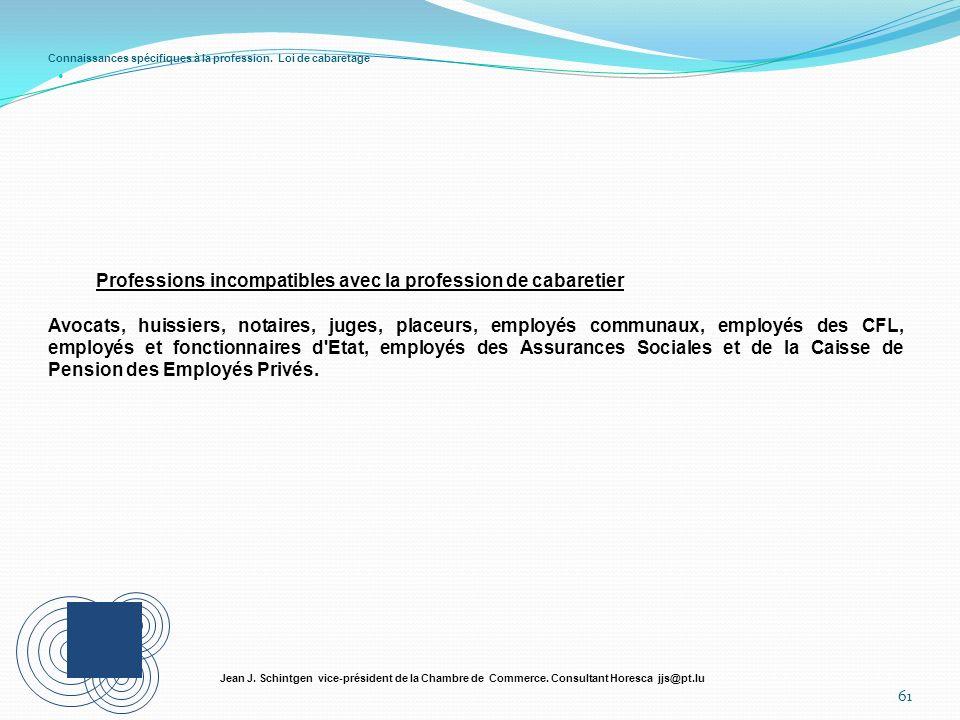 Connaissances spécifiques à la profession. Loi de cabaretage 61 Jean J. Schintgen vice-président de la Chambre de Commerce. Consultant Horesca jjs@pt.