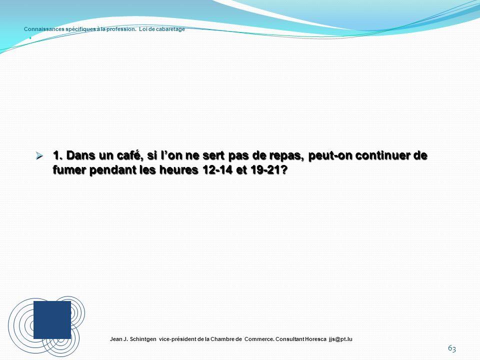 Connaissances spécifiques à la profession. Loi de cabaretage 63 Jean J. Schintgen vice-président de la Chambre de Commerce. Consultant Horesca jjs@pt.