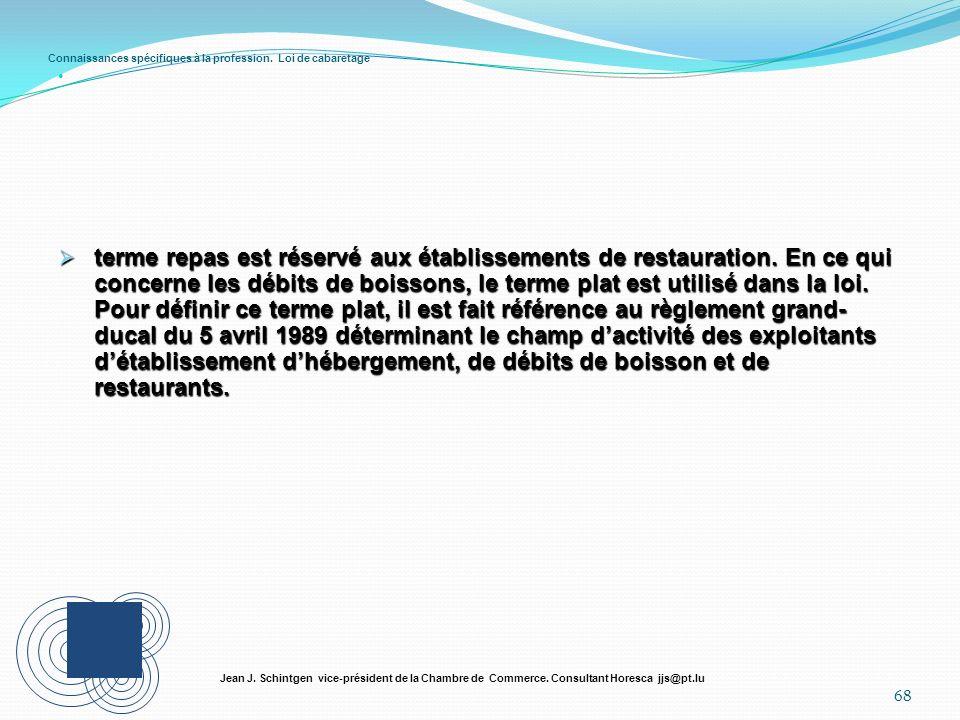 Connaissances spécifiques à la profession. Loi de cabaretage 68 Jean J. Schintgen vice-président de la Chambre de Commerce. Consultant Horesca jjs@pt.