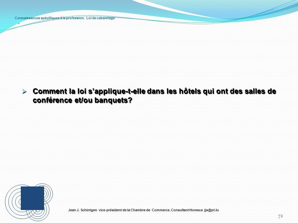 Connaissances spécifiques à la profession. Loi de cabaretage 72 Jean J. Schintgen vice-président de la Chambre de Commerce. Consultant Horesca jjs@pt.