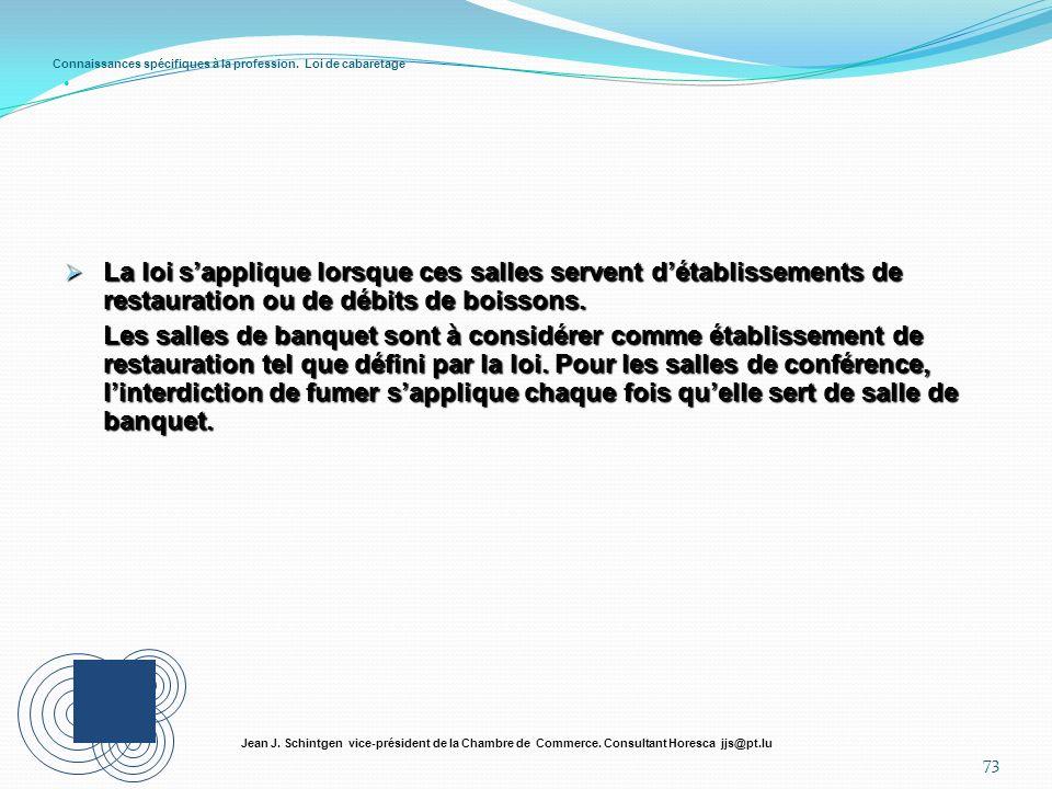 Connaissances spécifiques à la profession. Loi de cabaretage 73 Jean J. Schintgen vice-président de la Chambre de Commerce. Consultant Horesca jjs@pt.