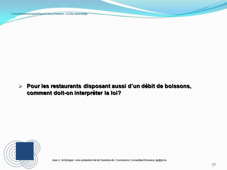 Connaissances spécifiques à la profession. Loi de cabaretage 76 Jean J. Schintgen vice-président de la Chambre de Commerce. Consultant Horesca jjs@pt.