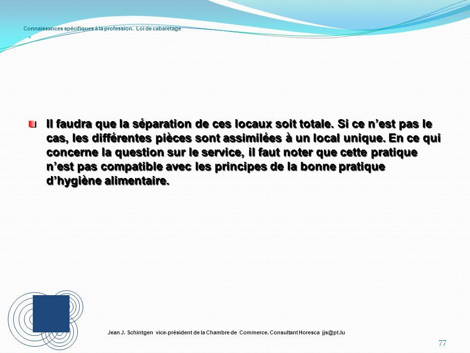 Connaissances spécifiques à la profession. Loi de cabaretage 77 Jean J. Schintgen vice-président de la Chambre de Commerce. Consultant Horesca jjs@pt.