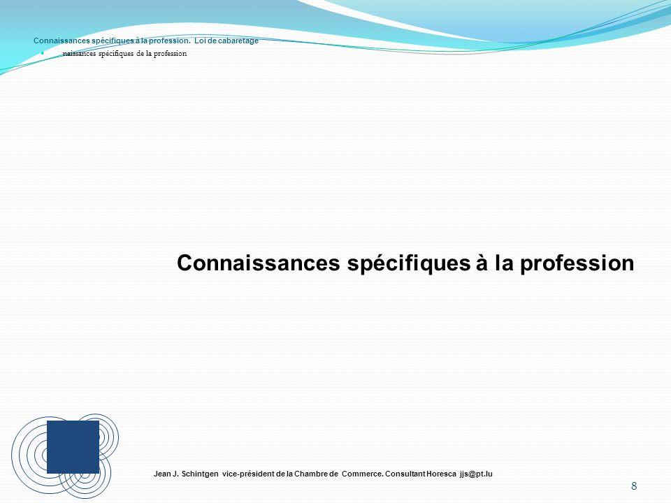 Connaissances spécifiques à la profession. Loi de cabaretage naissances spécifiques de la profession 8 Jean J. Schintgen vice-président de la Chambre
