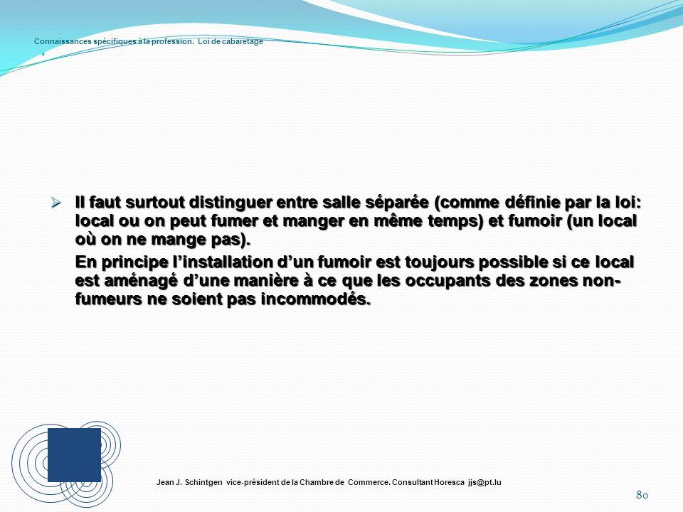 Connaissances spécifiques à la profession. Loi de cabaretage 80 Jean J. Schintgen vice-président de la Chambre de Commerce. Consultant Horesca jjs@pt.