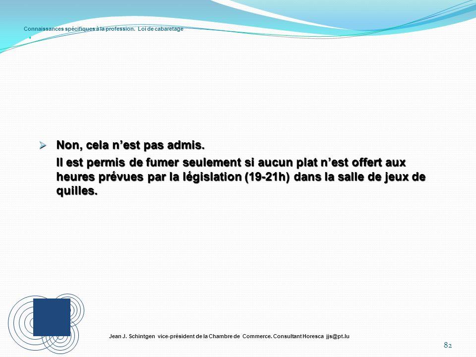 Connaissances spécifiques à la profession. Loi de cabaretage 82 Jean J. Schintgen vice-président de la Chambre de Commerce. Consultant Horesca jjs@pt.