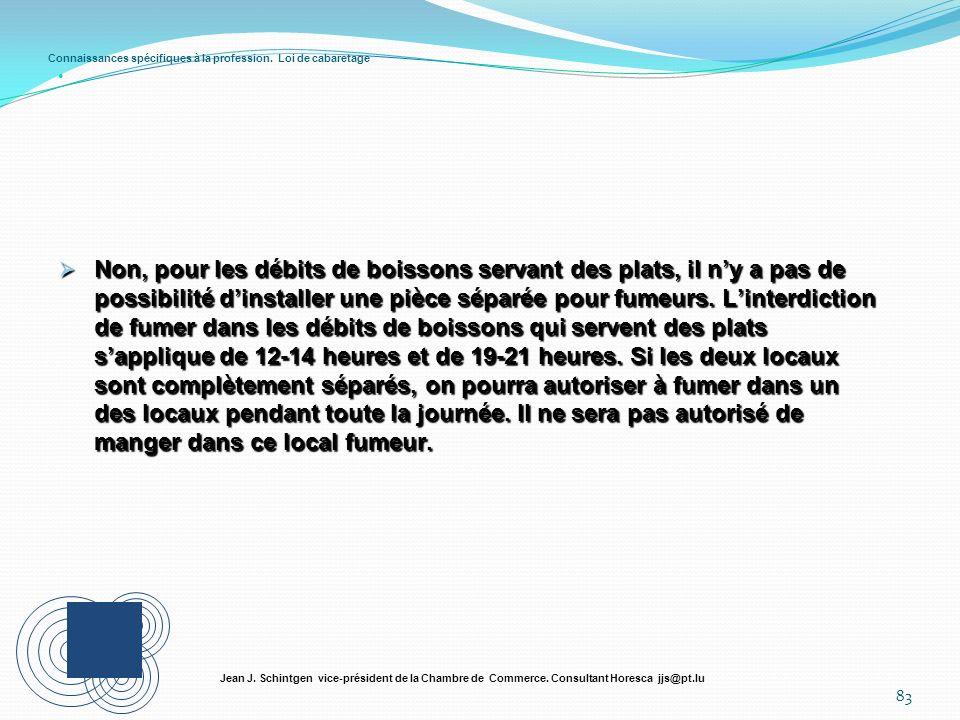 Connaissances spécifiques à la profession. Loi de cabaretage 83 Jean J. Schintgen vice-président de la Chambre de Commerce. Consultant Horesca jjs@pt.