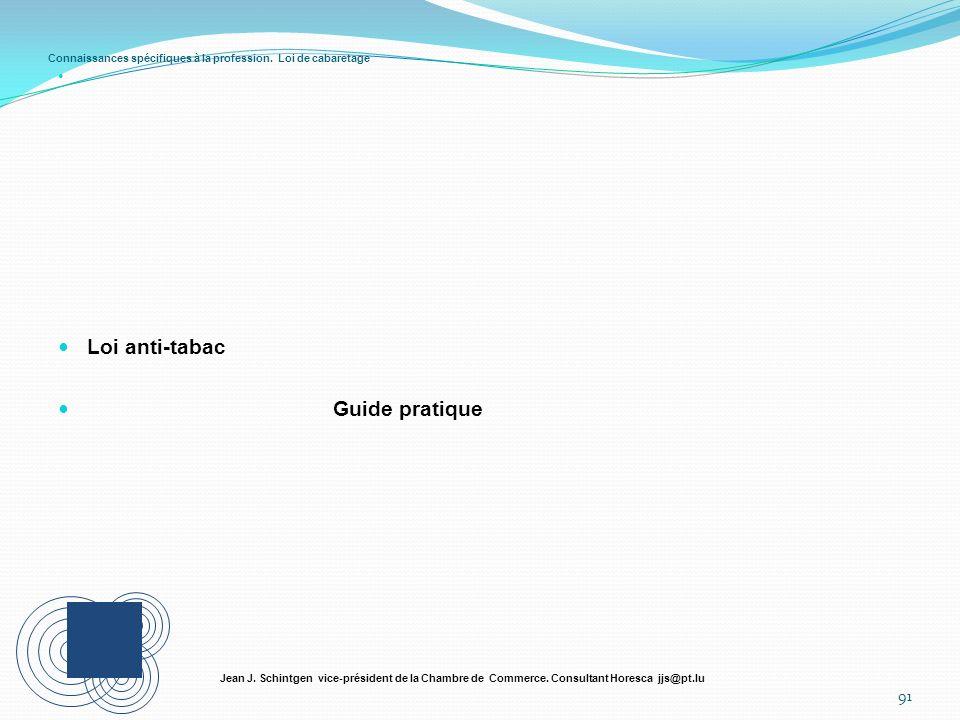 Connaissances spécifiques à la profession. Loi de cabaretage Loi anti-tabac Guide pratique 91 Jean J. Schintgen vice-président de la Chambre de Commer
