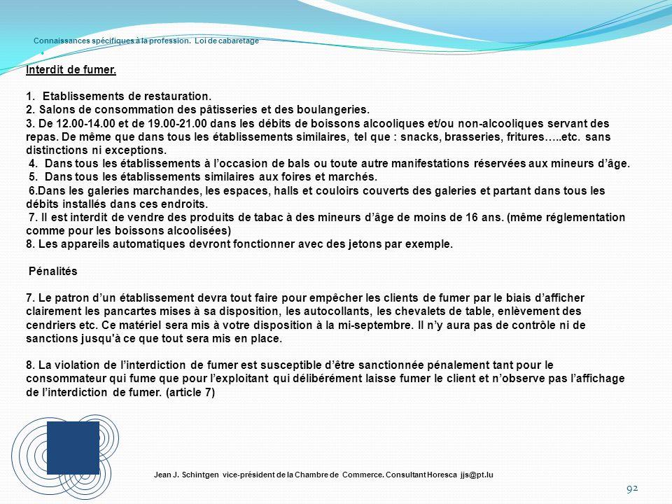 Connaissances spécifiques à la profession. Loi de cabaretage 92 Jean J. Schintgen vice-président de la Chambre de Commerce. Consultant Horesca jjs@pt.