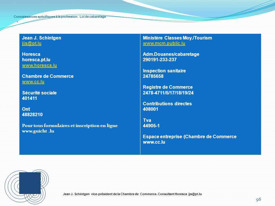 Connaissances spécifiques à la profession. Loi de cabaretage 96 Jean J. Schintgen vice-président de la Chambre de Commerce. Consultant Horesca jjs@pt.