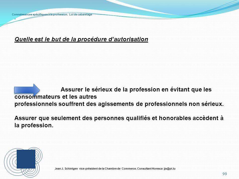Connaissances spécifiques à la profession. Loi de cabaretage 99 Jean J. Schintgen vice-président de la Chambre de Commerce. Consultant Horesca jjs@pt.