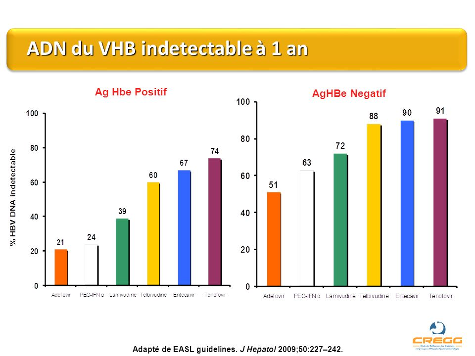 ADN du VHB indetectable à 1 an ADN du VHB indetectable à 1 an Ag Hbe Positif AgHBe Negatif Adapté de EASL guidelines. J Hepatol 2009;50:227–242.