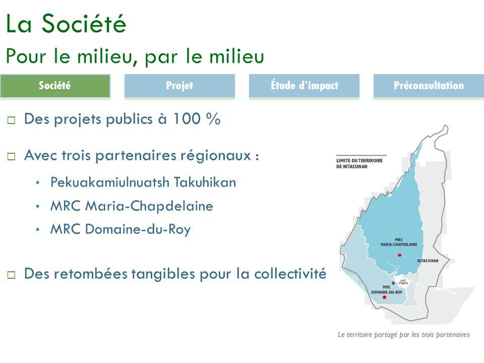 3 Des projets publics à 100 % Avec trois partenaires régionaux : Pekuakamiulnuatsh Takuhikan MRC Maria-Chapdelaine MRC Domaine-du-Roy Des retombées tangibles pour la collectivité SociétéProjetÉtude dimpactPréconsultation