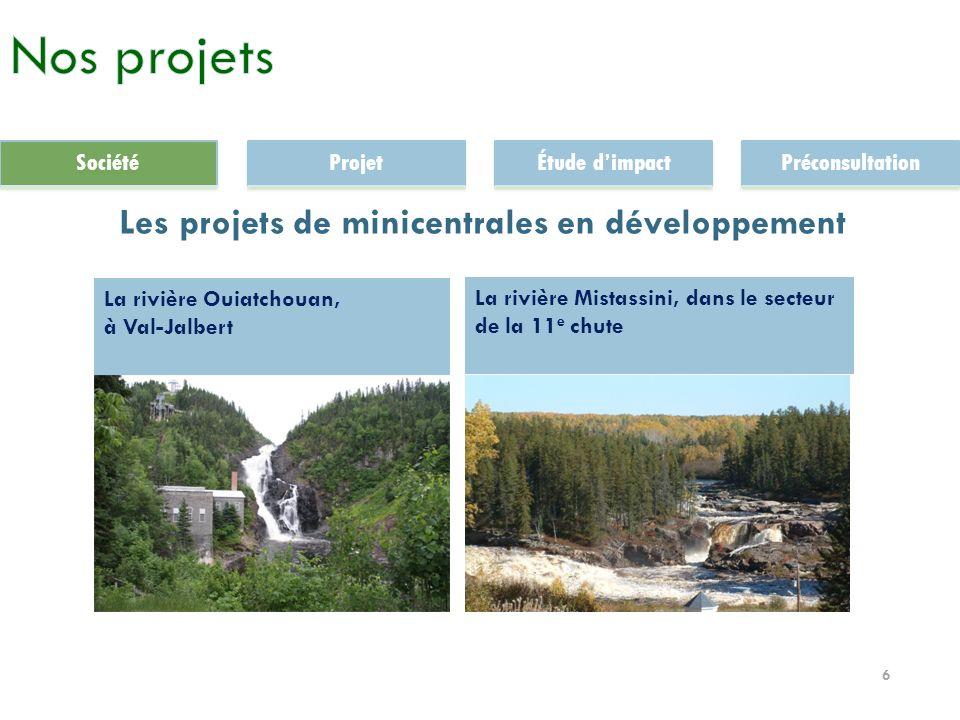 6 Les projets de minicentrales en développement La rivière Mistassini, dans le secteur de la 11 e chute La rivière Ouiatchouan, à Val-Jalbert SociétéProjetÉtude dimpactPréconsultation