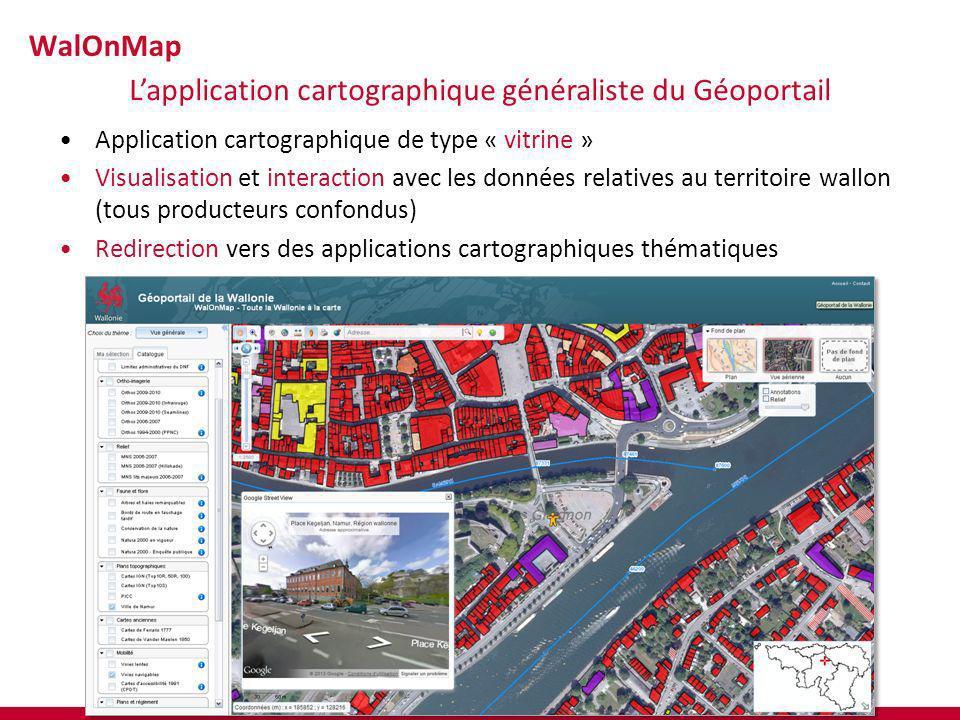 Application cartographique de type « vitrine » Visualisation et interaction avec les données relatives au territoire wallon (tous producteurs confondu