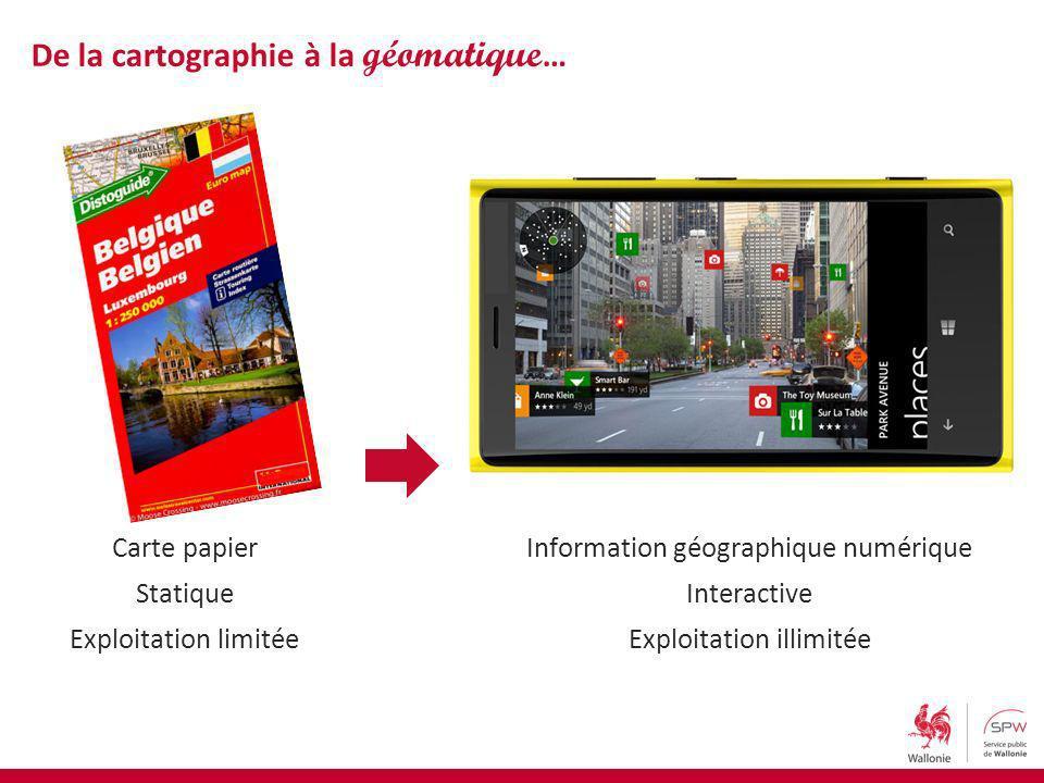 De la cartographie à la géomatique … Carte papier Statique Exploitation limitée Information géographique numérique Interactive Exploitation illimitée