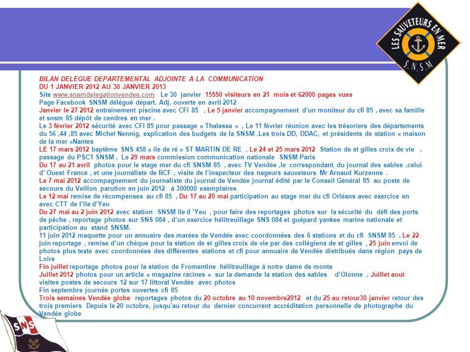 BILAN DELEGUE DEPARTEMENTAL ADJOINTE A LA COMMUNICATION DU 1 JANVIER 2012 AU 30 JANVIER 2013 Site www.snsmdelegationvendee.com Le 30 janvier 15550 vis