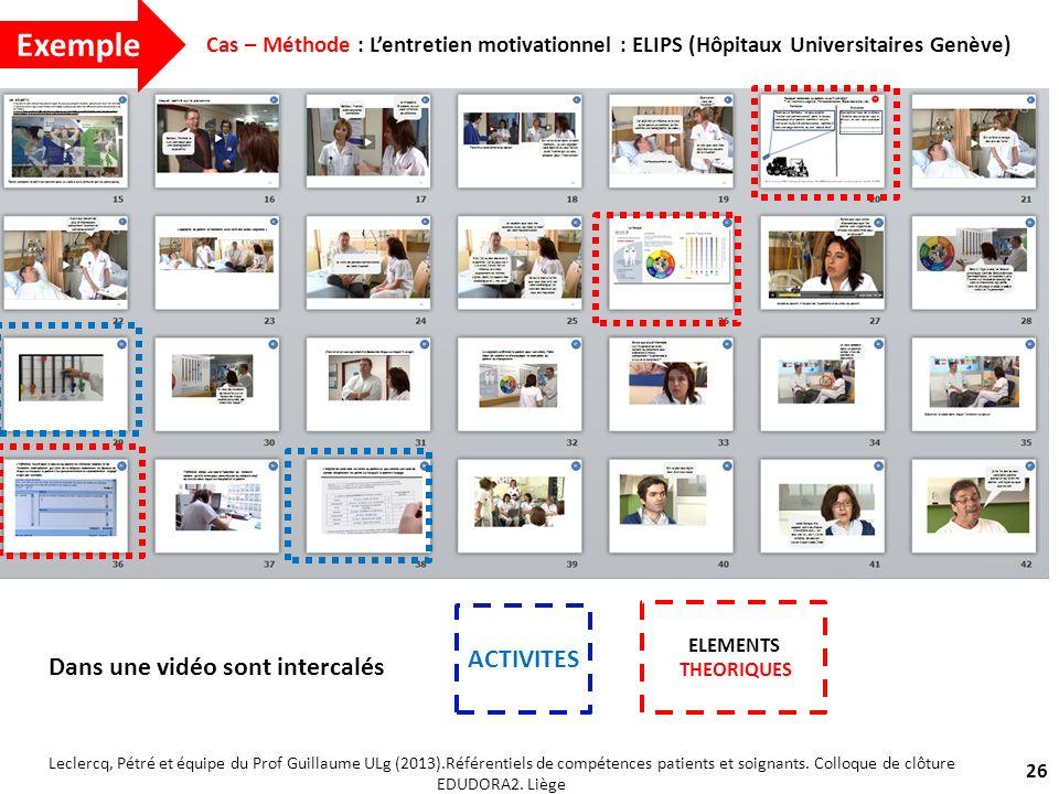 Dans une vidéo sont intercalés 26 Cas – Méthode : Lentretien motivationnel : ELIPS (Hôpitaux Universitaires Genève) Leclercq, Pétré et équipe du Prof