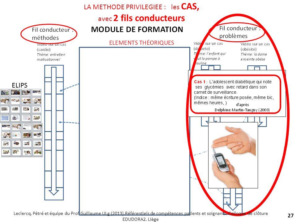 27 LA METHODE PRIVILEGIEE : les CAS, avec 2 fils conducteurs ELIPS Leclercq, Pétré et équipe du Prof Guillaume ULg (2013).Référentiels de compétences