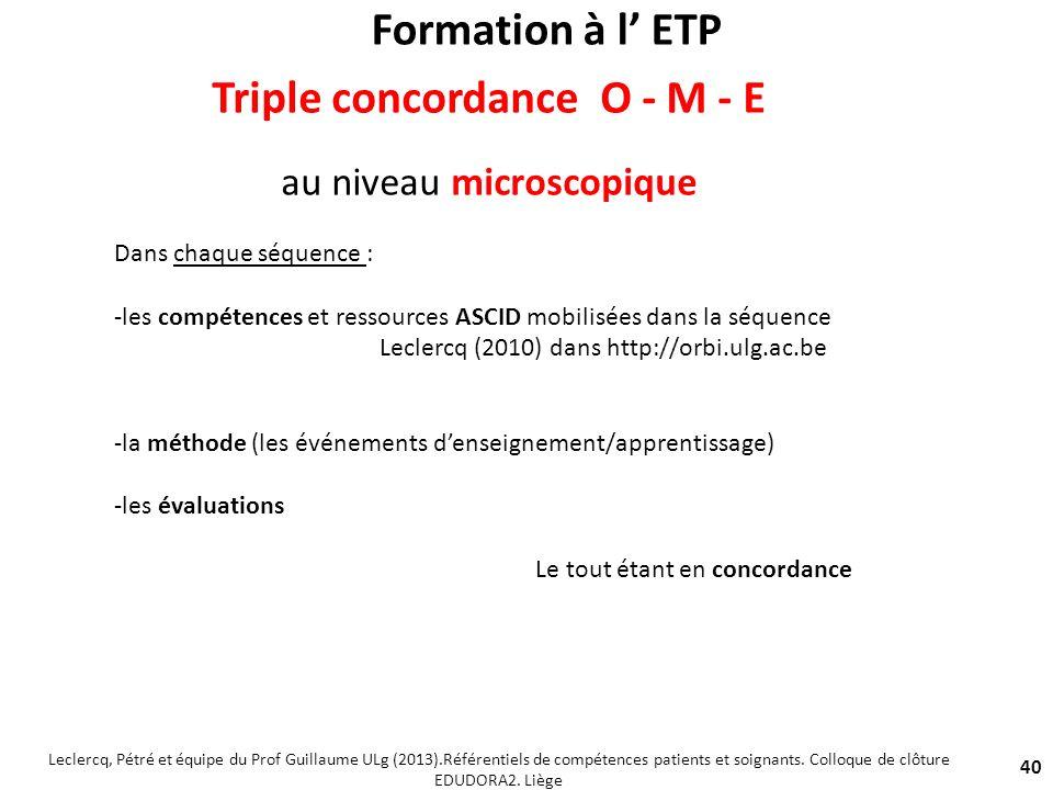 40 Triple concordance O - M - E au niveau microscopique Dans chaque séquence : -les compétences et ressources ASCID mobilisées dans la séquence Lecler