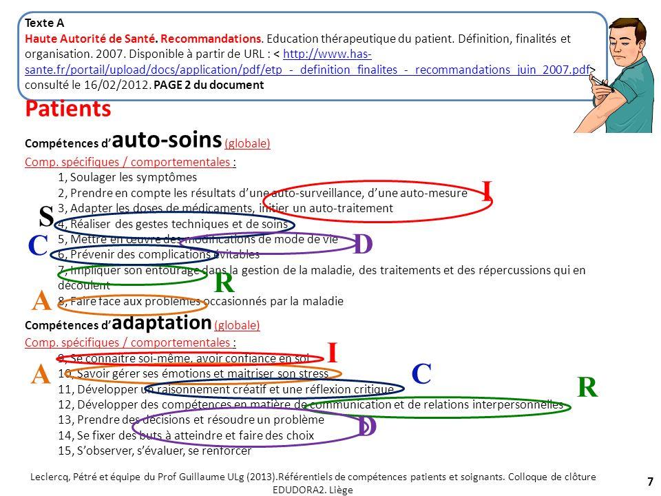 Etape 5: Reformulation et décomposition pour établir les connexions entre compétences Patients et soignants 18 Leclercq, Pétré et équipe du Prof Guillaume ULg (2013).Référentiels de compétences patients et soignants.