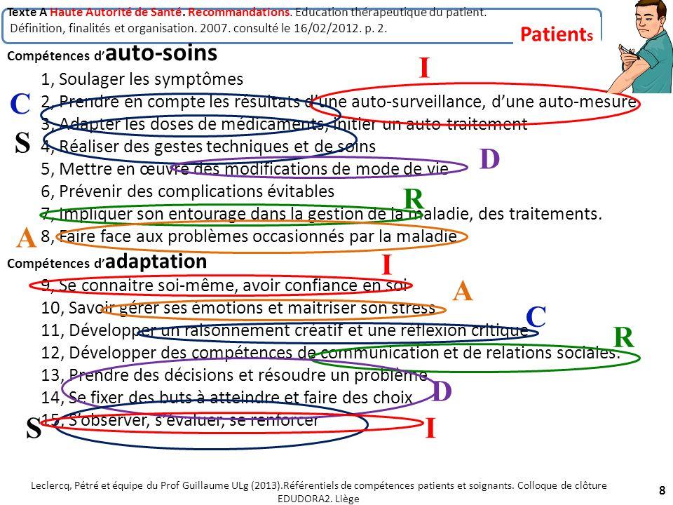 Texte A Haute Autorité de Santé. Recommandations. Education thérapeutique du patient. Définition, finalités et organisation. 2007. consulté le 16/02/2