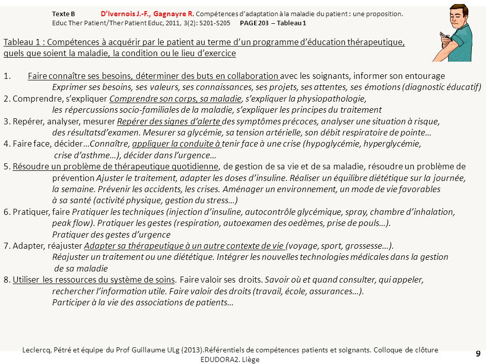 9 Texte B DIvernois J.-F., Gagnayre R. Compétences dadaptation à la maladie du patient : une proposition. Educ Ther Patient/Ther Patient Educ, 2011, 3