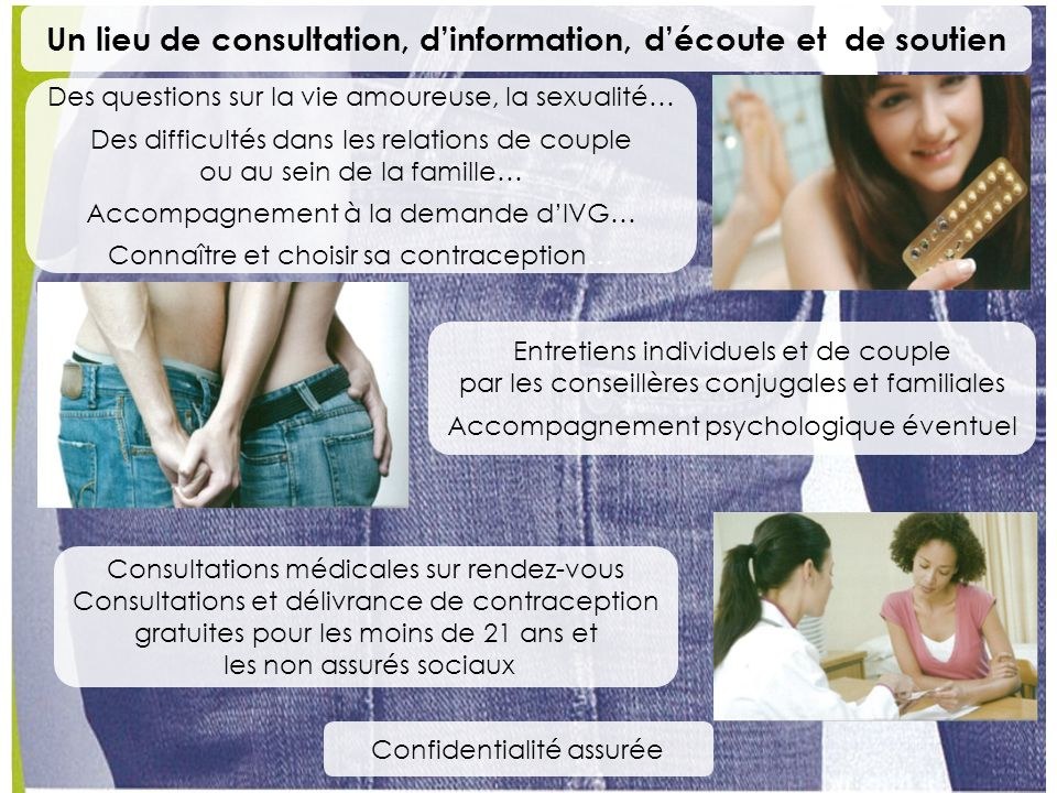 Consultations médicales sur rendez-vous Consultations et délivrance de contraception gratuites pour les moins de 21 ans et les non assurés sociaux Des