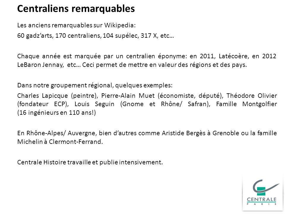 Centraliens remarquables Les anciens remarquables sur Wikipedia: 60 gadzarts, 170 centraliens, 104 supélec, 317 X, etc… Chaque année est marquée par u