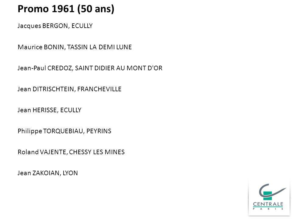 Promo 1961 (50 ans) Jacques BERGON, ECULLY Maurice BONIN, TASSIN LA DEMI LUNE Jean-Paul CREDOZ, SAINT DIDIER AU MONT D'OR Jean DITRISCHTEIN, FRANCHEVI