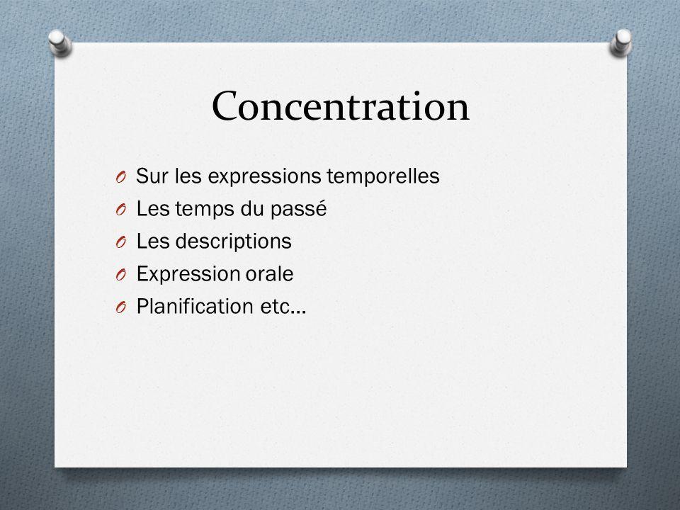 Concentration O Sur les expressions temporelles O Les temps du passé O Les descriptions O Expression orale O Planification etc…