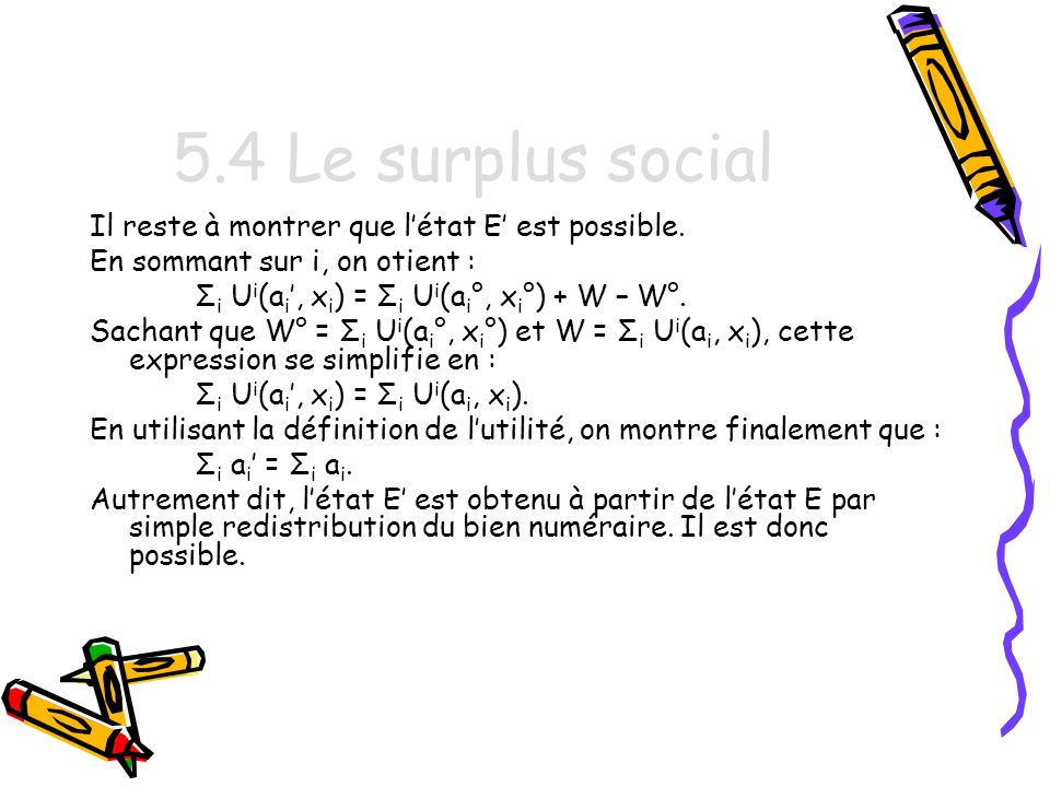 5.4 Le surplus social Il reste à montrer que létat E est possible.